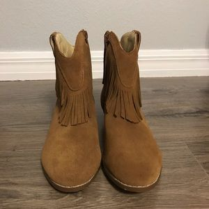Shyanne Shoes - Brown suade fringe round toe cowgirl boots sz 8.5
